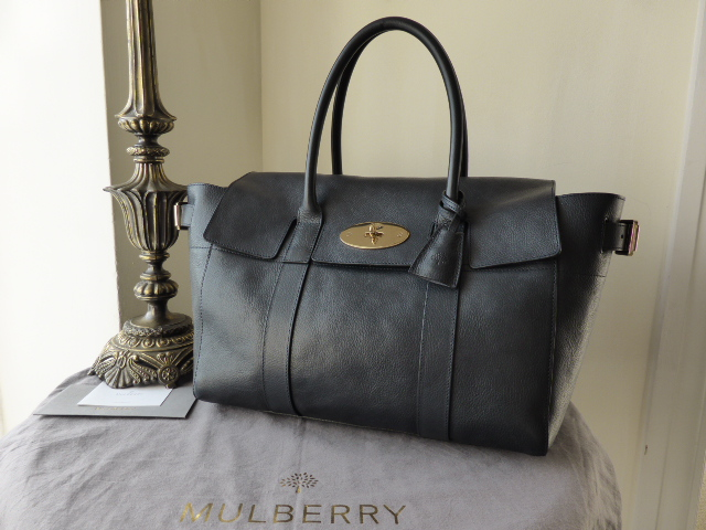 Mulberry Bayswater Buckle (Large) in Midnight Natural Leather