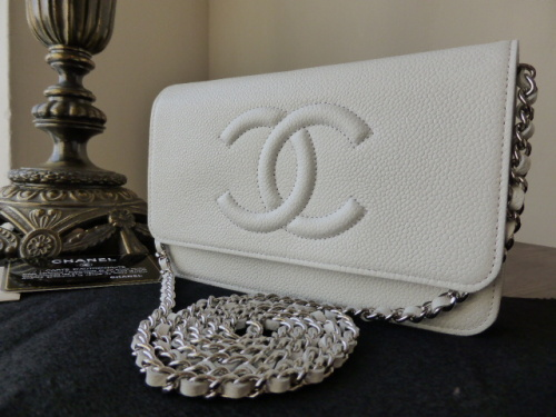 Chanel WOC Wallet on Chain in White Caviar with Silver Tone Hardware - As N