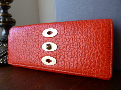 Mulberry Bryn Continental Wallet Purse in Flame Shiny Grain Leather - New*