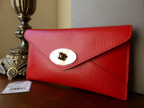 Mulberry Envelope Wallet / Purse in Red Shiny Goat Leather - New