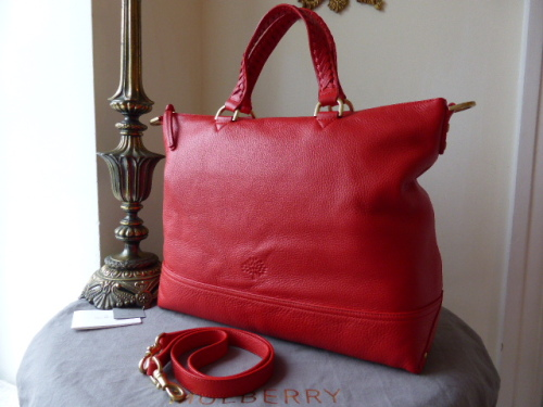 Mulberry Effie Tote in Bright Red Spongy Pebbled Leather - New