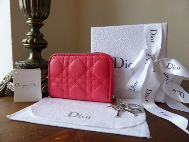 Dior Lady Dior Mini Card Coin Purse in Rose Hot Lambskin Cannage