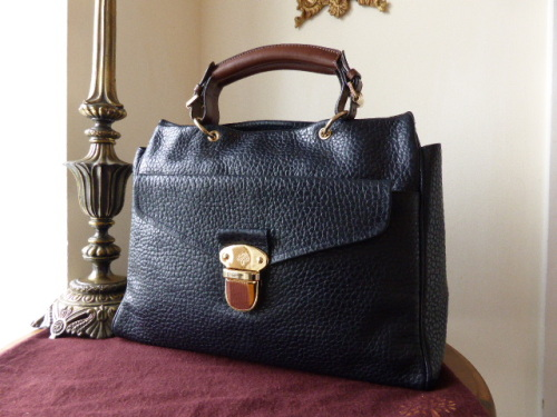 Mulberry Polly Push Lock Tote in Midnight Shiny Grain Leather