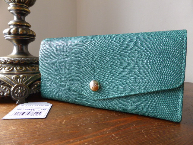 Mulberry Dome Rivet Continental Purse Emerald Lizard Print