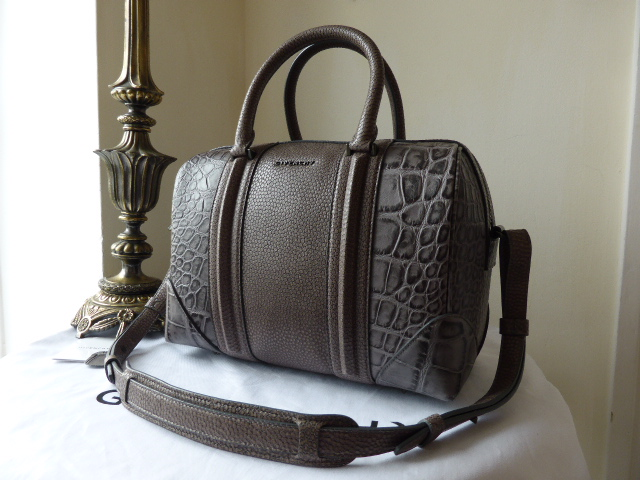 Givenchy Lucrezia Medium in Grey Animal Embossed Leather Bowling Bag- As Ne