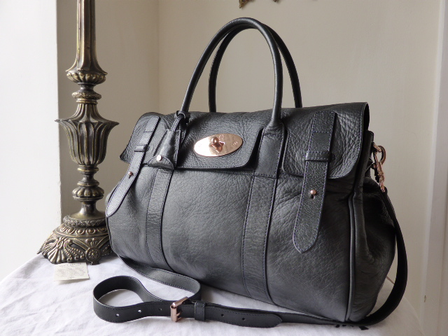 Mulberry Heritage Bayswater (Large) in Nightshade Blue with Rose Gold Hardw