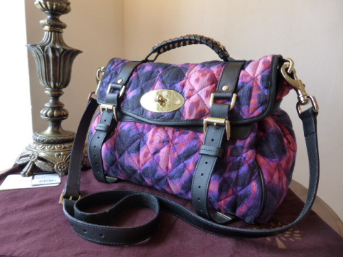 Mulberry Regular Alexa in Plum Loopy Leopard Quilted Denim