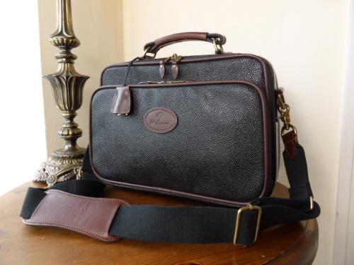 Mulberry Flight Bag in Black & Branston Scotchgrain Leather