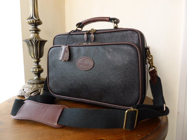 Mulberry Flight Bag in Black & Branston Scotchgrain Leather