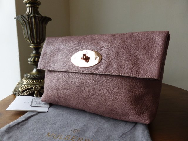 Mulberry Clemmie Clutch in Dark Blush Glossy Goat with Rose Gold Hardware