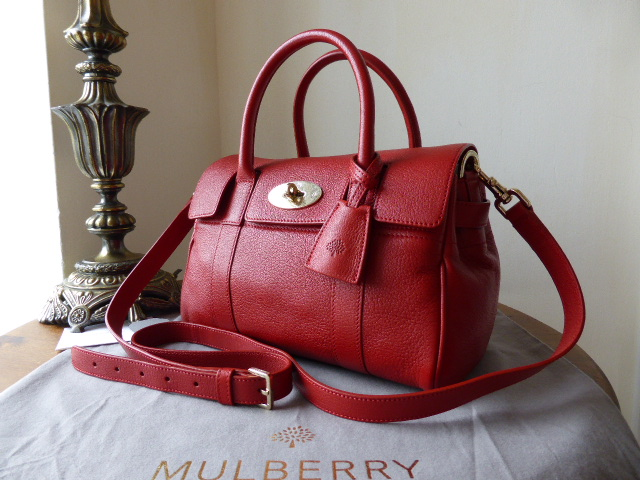 Mulberry Small Bayswater Satchel in Poppy Red Glossy Goat Leather - New