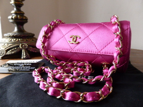 Chanel Roll Mini Bag in Fuschia Satin