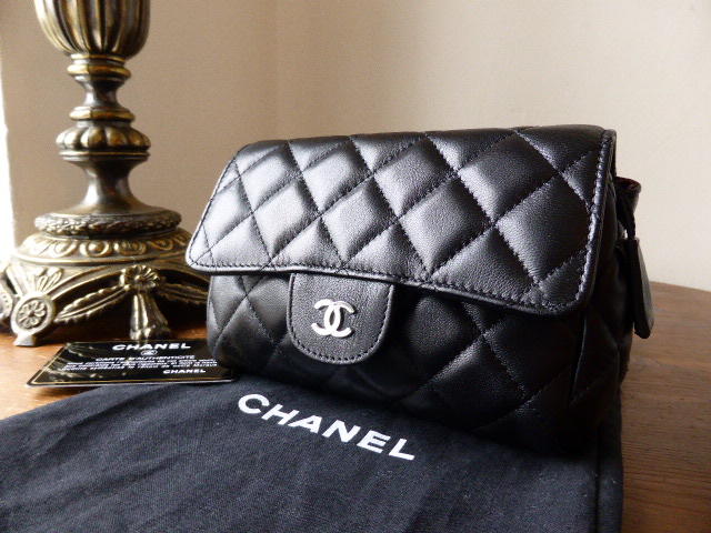 Chanel Black Flap Cosmetic Pouch in Black Quilted Lambskin