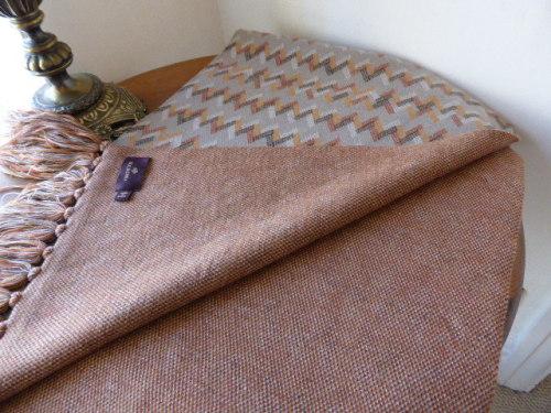Mulberry Large Fringed Wrap / Shawl Chevron Cashmere Mix - As New