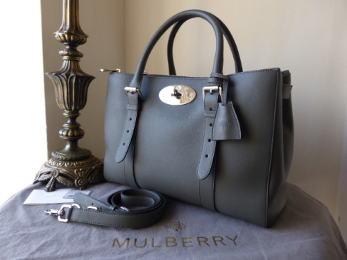Mulberry Double Zip Bayswater Tote in Pavement Grey Silky Classic Calf - Ne
