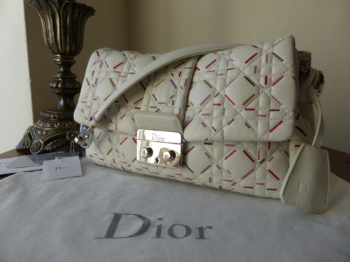 Dior Miss Dior New Lock (Medium) in Latte & Papay Patterned Lambskin