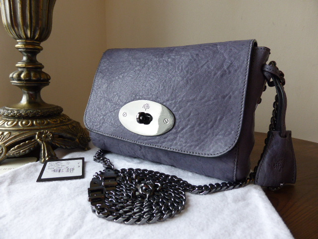 Mulberry Lily Buckle Chain in Foggy Grey Large Grain Nappa