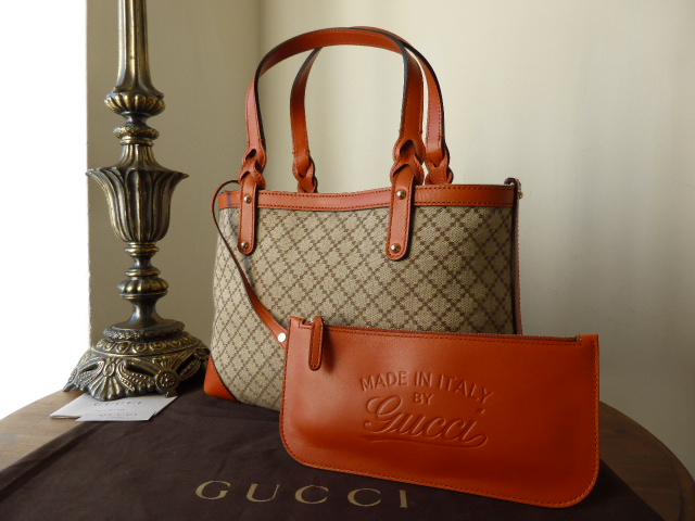 Gucci Craft Tote in Signature Diamonte with Seville Leather Trims