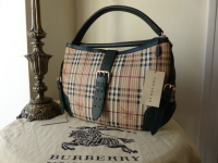 Burberry Large Dunloe Hobo in Vertical Stitched Haymarket Check with Forest Green Trims - New