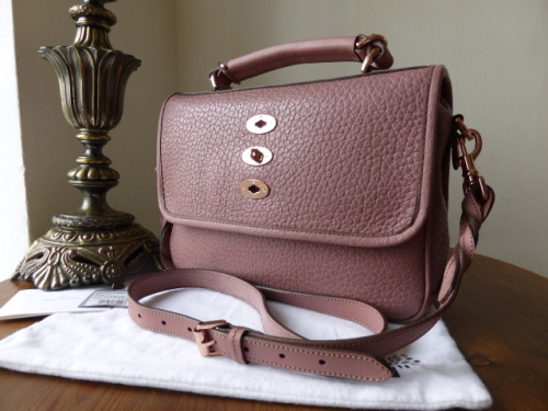 Mulberry Bryn in Dark Blush Shiny Grain Leather with Rose Gold Hardware