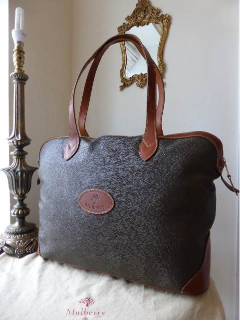 Mulberry Large Tetbury Traveller in Mole & Brandy Scotchgrain Leather