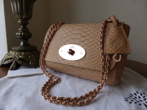 Mulberry Lily (regular) in Plaster Pink Silky Snake Print Leather - New*