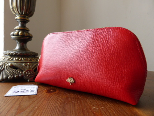 Mulberry Make Up Case Bright Red Shiny Goat - New