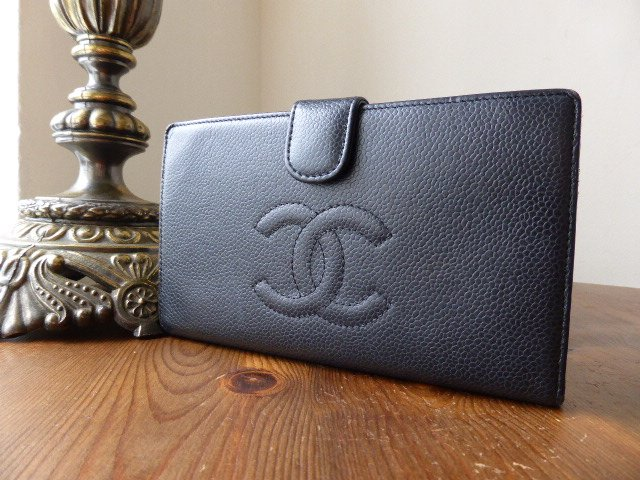 Chanel Bi Fold Framed Continental Purse in Black Caviar