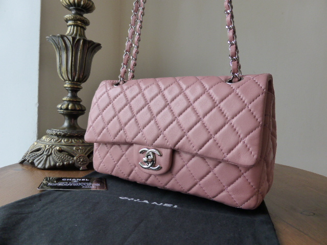Chanel Medium Flap in Baby Pink Lambskin with Silver Hardware