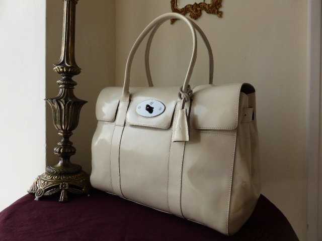 Mulberry Bayswater in Off White Spazzalato Leather with Dark Silver Hardwar