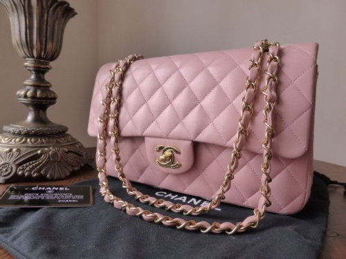 Chanel Medium Flap in Pale Pink Lambskin with Gold Hardware