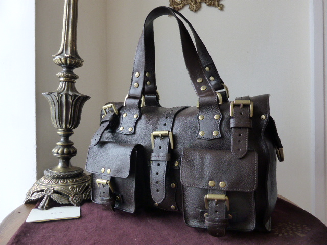 Mulberry Roxanne in Chocolate Natural Vegetable Tanned Leather