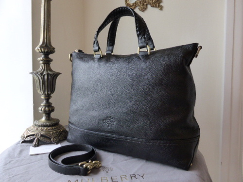 Mulberry Effie Tote in Black Spongy Pebbled Leather - New