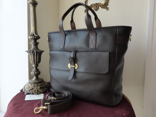 Mulberry Toby Large Travel Tote in Chocolate Heavy Grain Leather
