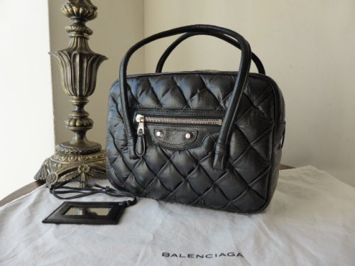 Balenciaga Matelasse Small Satchel in Glazed Black Lambskin