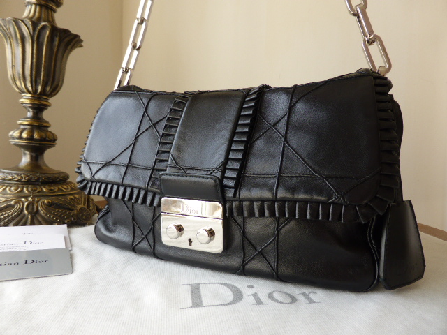 Dior Miss Dior New Lock 'Ruffle's (Medium) in Black Lambskin
