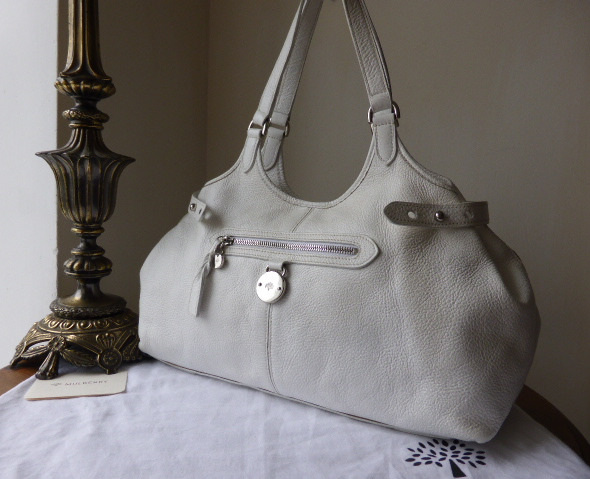 mulberry somerset tote in white pebbled leather