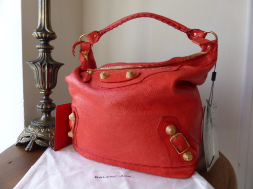 Balenciaga Giant Day in Coral Red Lambskin