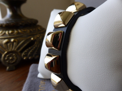 Mulberry Eliza Bracelet Cuff in Black with Shiny Gold Tone Studs - New