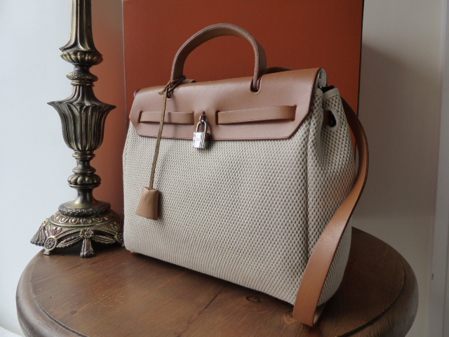 Hermes Herbag Kelly in Natural Toile Linen Weave