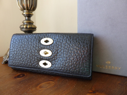 Mulberry Bryn Continental Wallet Purse in Black Shiny Grain Leather