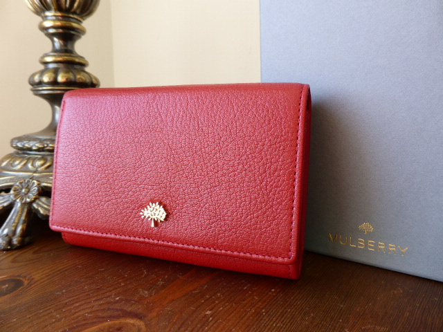 Mulberry Tree French Purse in Poppy Red Glossy Goat Leather - New