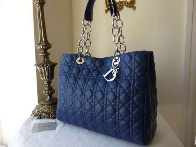 Dior Soft Large Shopping Tote in Royal Blue Lambskin - As New