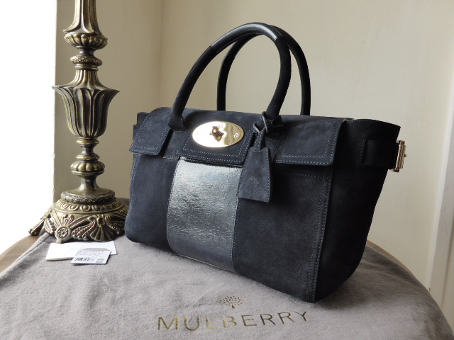 Mulberry Bayswater Buckle (Small) in Midnight Blue Sued Nubuck Stripe