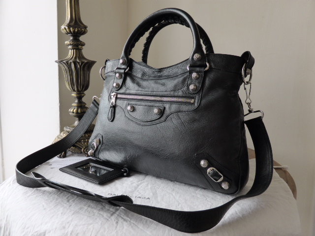 Balenciaga Giant 12 Town Bag in Black Lambskin with Silver Tone Hardware