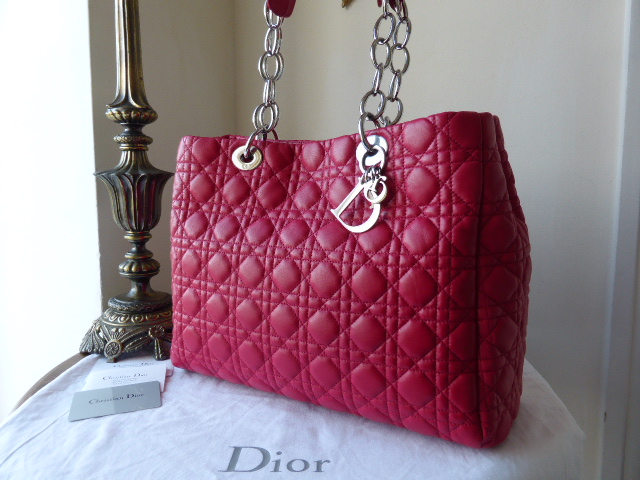 Dior Soft Large Shopping Tote in Raspberry Pink Lambskin - New