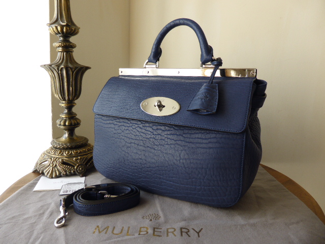 Mulberry Small Suffolk in Indigo Blue Shrunken Calf Leather - New