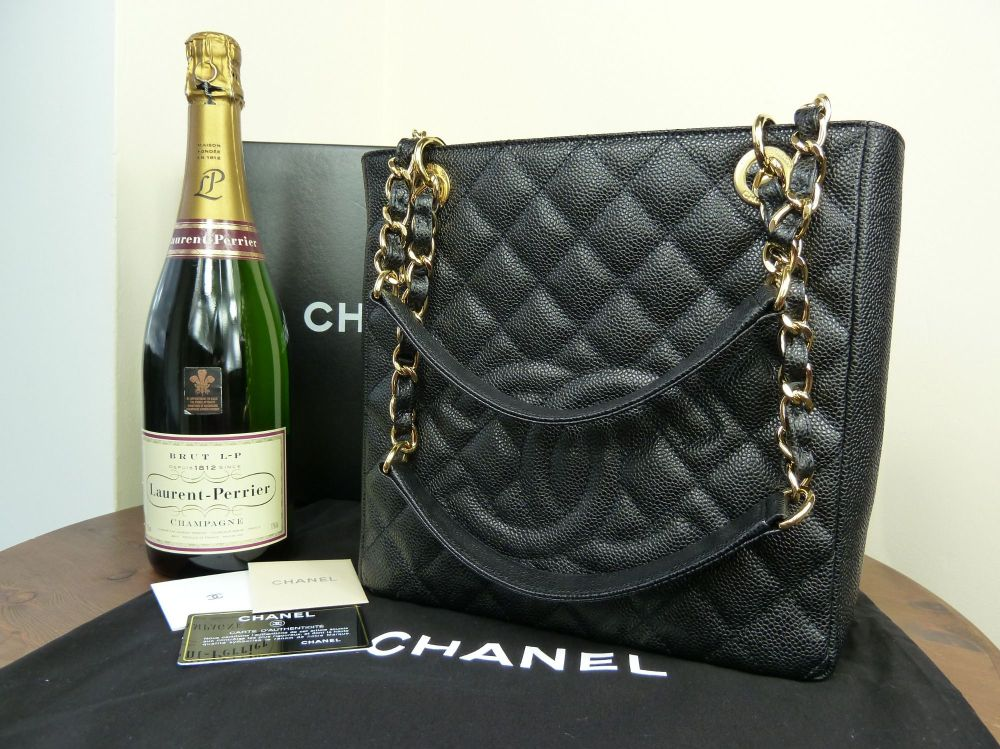 Chanel Petit Shopping Tote in Black Caviar