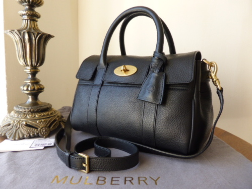 Mulberry Small Bayswater Satchel in Black Natural Leather ref WL