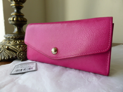 Mulberry Dome Rivet Continental Purse in Mulberry Pink Glossy Goat